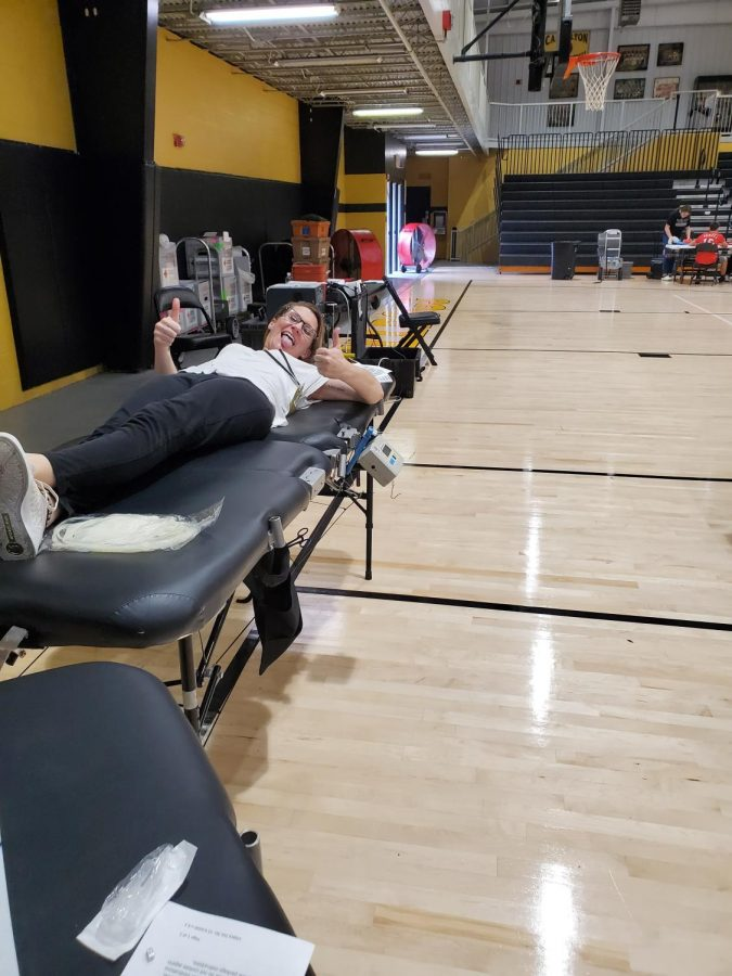 One of our students giving blood at our first blood drive. September 23, 2019.