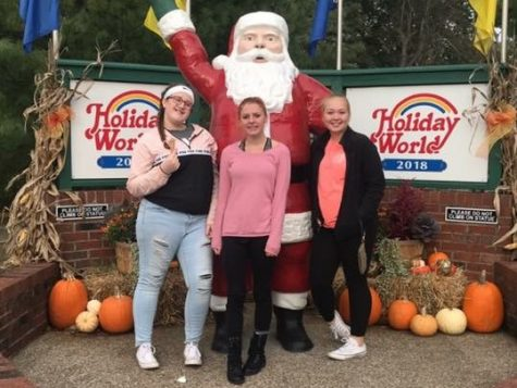 Lori, Jesse, and Mariah at Holiday World in Santa Claus, Indiana. October 14, 2018.