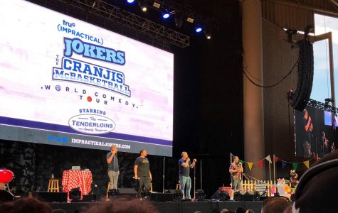 Murr, Sal, Joe, and Q at the Impractical Jokers Live: Cranjis McBasketball Summer Spectacular World Comedy Tour. August 11, 2019.