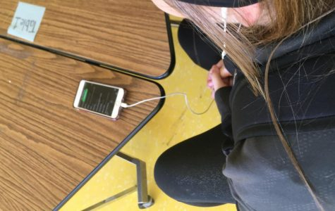 A CJHS student listening to some of today's top hits.