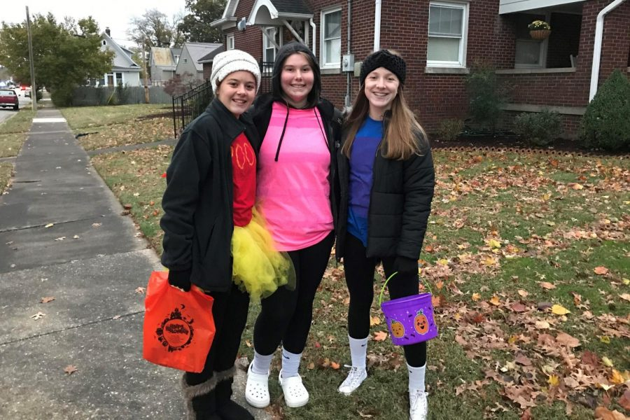 CHS students Kylie, Bria, and Makayla trick-or-treating. October 31, 2019.