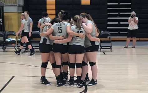 Varsity starters huddle up right before the start of their match.  October 7, 2019.