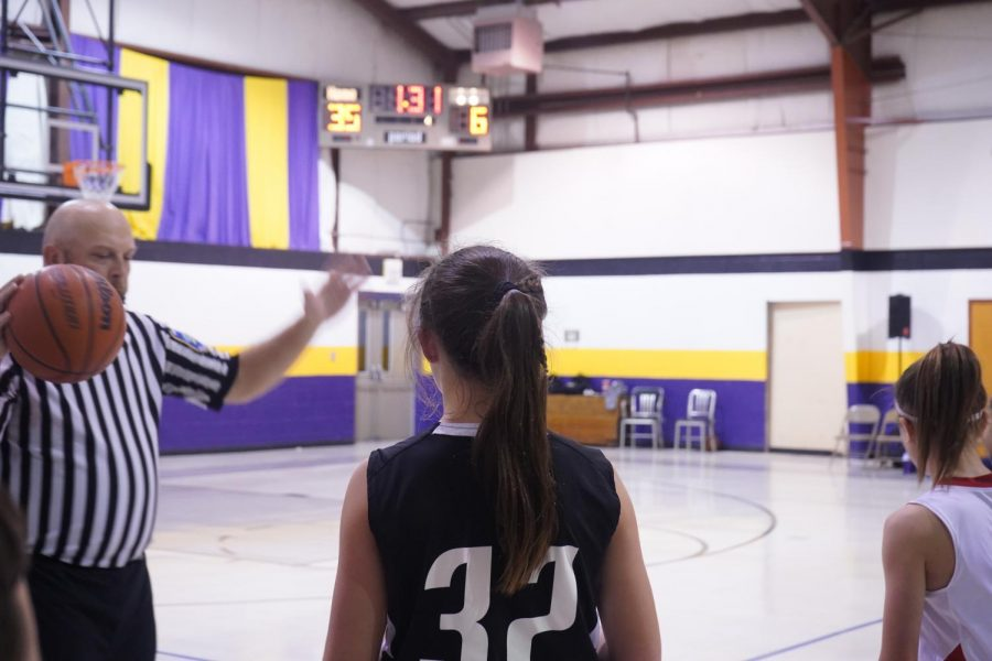 Seventh Grader Kylie Anastasiades is ready to inbound the ball at Evansville Racers. November 7, 2019.