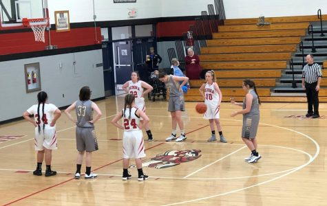Sophomore Maggie Dawson gets ready to shoot a free throw at the girls' basketball SRC Tourney at Medora. November 9, 2019.