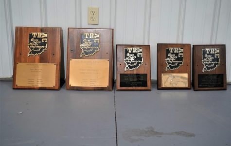 The trophy plaques from CHS's five girls basketball TRAC championships.