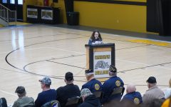 Sixth Grader Jay Henson reading her essay at the Cannelton City Schools annual Veterans Day Program. November 11, 2020.