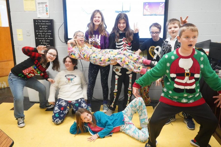 Some of our sixth grade entries in the Ugly Holiday Sweater contest.