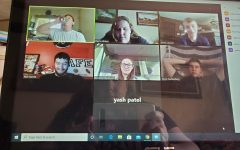 High school teacher Mrs. Hinton captures a group of her senior English class during their virtual learning meeting.