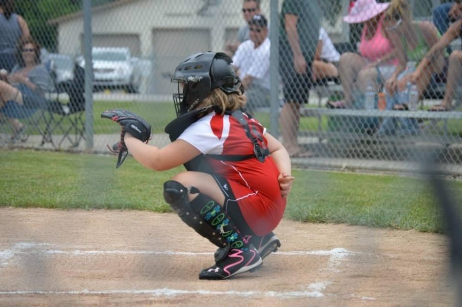 This love for softball began at a young age, as evidenced by this photo of young Bria on her first travel team. (2014) // Photo by CCS teacher Mikki Garrett.