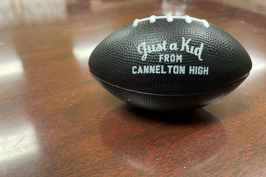 A photo of a rare Cannelton football.