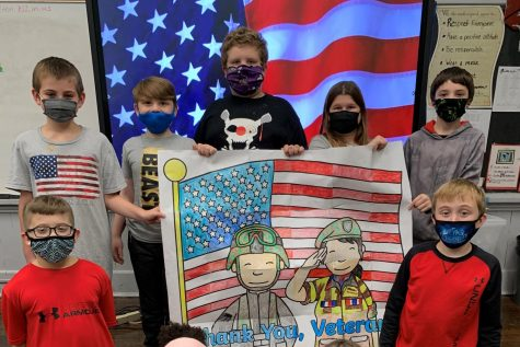Our 4th grade class honoring all of our Veterans.