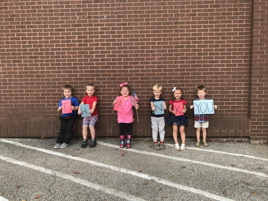 Members of our preschool class thanking our Veterans.