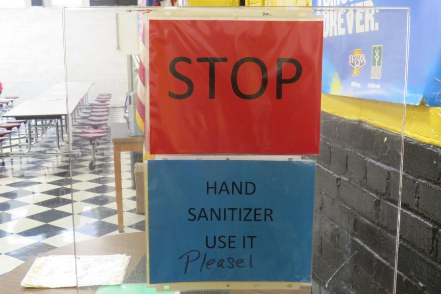 School administration has set up multiple signs and reminders, ensuring that students are frequently sanitizing. Sanitizing stations have been set up in