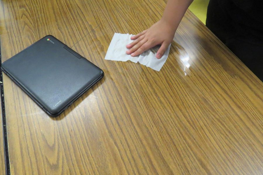 Each student takes pride in keeping each other safe by keeping their area and themselves sanitized at all times.